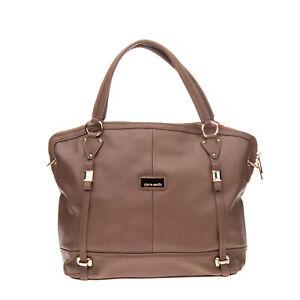 PIERRE CARDIN Tote Bag Large PU Leather Grainy Panel Detachable Strap Zipped