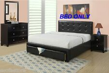 Modern Queen Size 1p Bed Storge Drawer Black Faux Leather Bedroom Furniture
