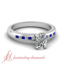 Cushion Cut Diamond Rings With Channel Set Princess & Sapphire Gemstone 0.85 Ct