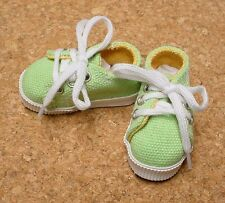Doll Shoes 63mm LT GREEN Sneakers by Monique Gold (with Yellow accent lining)