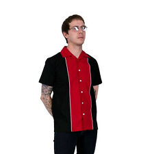 Relco Men's Open Neck Red Vintage 50's Rockabilly Ten Pin Bowling Shirt