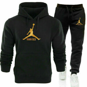 Mens 2Pcs Hoodies Tracksuit Set Sweatshirt Pants Bottoms Sport Set Jogging-Suits