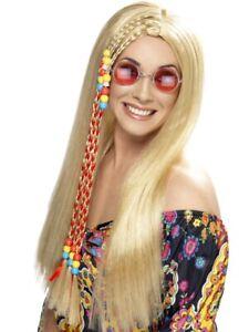 Long Blonde 60s 70s Party Wig Hippy Hippie Fancy Dress Costume Accessory