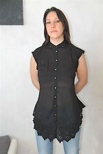 tunic tunique noire broderies HIGH USE taille 38  NEUF ÉTIQUETTE ** TOP LUXE **