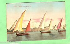 #A. EGYPT  MILITARY POSTCARD -  1918, ON ACTIVE SERVICE, BOATS ON NILE