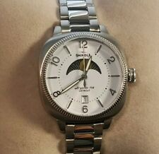 Shinola Gomelsky Moon Phase 36mm , Silver & White face & Silver Bracelet