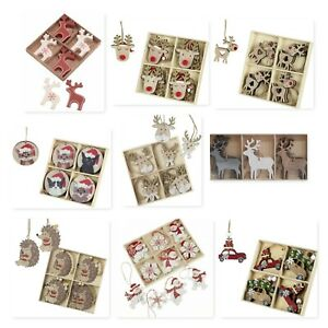 Set of Festive Christmas Wooden Nordic Hanging Tree Decorations Various Designs