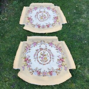 Fab PAIR Old FRENCH Hand-embroidered PETIT POINT TAPESTRY ARMCHAIR SEATS Rework