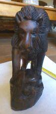 lion en bois sculpté + serpent- sculpture animalière 2kg 850 ébène