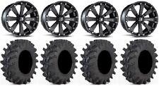 """MSA Black Kore 14"""" UTV Wheels 28"""" Outback Max Tires Honda Pionner 1000"""