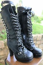 Knee high goth boots, zip up side, size 8 punk rave festival