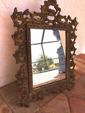 Antique Ornate Scrolled Rococo Brass Gold Easle Frame / Mirror ~ 17 x 13