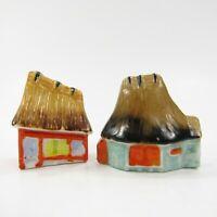 Vintage Salt Pepper Shaker Set Miniature Asian House Huts Japan           INV263