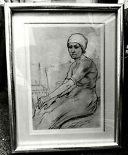 "VINTAGE ARMAND RASSENFOSSE ENGRAVING ETCHING HIERCHEUSE 9.5"" X 7"" MATTED FRAMED"