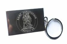Engraved ST CHRISTOPHER + your text - Personalised Keyring Double Sided