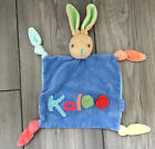 """Very Hard To Find Rare Kaloo Blue Green Pink Baby Lovey Knotted Bunny 13"""" Flat"""