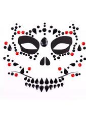 SKULL, DAY OF THE DEAD FACE GEMS, RED, BLACK FACE GEMS,HALLOWEEN FANCY DRESS