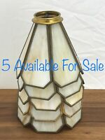 "Antique Vtg Stained Slag Glass Lamp Shade Caramel 6 Panel 2 1/8"" Fitter *5 AVAIL"