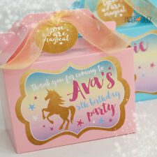 Personalised UNICORN Pink Blue Lilac Gold Birthday Party Lunch Box Gift Favor