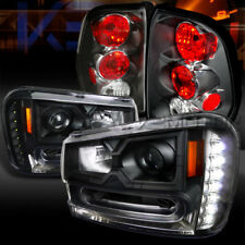 02-09 Trailblazer Black SMD LED DRL Projector Headlights+Black Tail Lamps