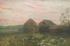 Painting By Artist Edith White Early California Art landscape barn flowers