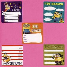 10 Minions I've Grown Height and Weight - Large Stickers - Party Favors