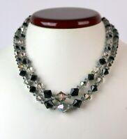 Vintage Double Strand Black and Aurora Borealis Glass Bead Choker Necklace