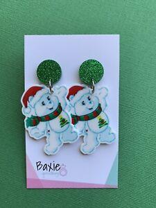 Xmas Care Bear Style Christmas Dangle Earrings, Surgical Stud, Glitter Acrylic