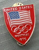 1976 Vtg Team USA Olympic Pin Montreal Games United States Flag plus Rings RED