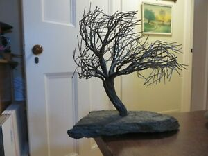 old vintage folk art Tree made of wire on stone base signed.