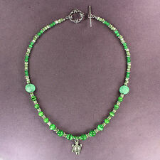 Turtle Totem Necklace Green Silver Catseye Tortoise Animal Magick Earth 16.5""