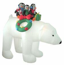 Christmas Inflatable Polar Bear Penguins Lights Indoor Outdoor Garden Decoration