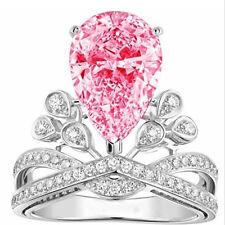 1Pc/set Exquisite Women 925 Silver Light Red Zircon Rings Jewelry Bridal Sz 8