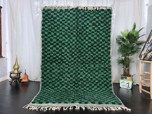 Moroccan Beni Ourain Handmade Rug 5'2x8'2 Checkered Berber Green Black Wool Rug