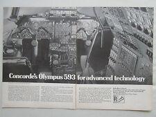1969 PUB SNECMA ROLLS-ROYCE COCKPIT CONCORDE REACTEUR OLYMPUS 593 ENGINE AD