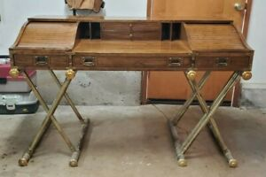 Oxford Square By Drexel Faux Base Campaign Style Tambour Roll Top Desk
