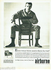 PUBLICITE ADVERTISING 096  1962  Airborne  siège fauteuil Yearling