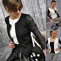 Ladies Fashion Patchwork Leather Jacket Coat Womens Zipper Slim Fit Outwear Tops