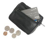 Genuine Leather Men Women Card Coin Change Large Key Ring Holder Purse Zip