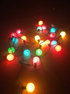 3 Strings 21 Vintage Working GE Lighted Ice Snowball C-7 Christmas Light Bulbs