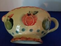 """NEW & SIGNED Italica ARS Hand-Painted Gravy Boat/Sauce Pitcher  7""""x5""""x4"""""""