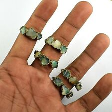 Natural Raw Opal New Antique Fashion Design Brass Plated Stackable Gemstone Ring