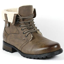 Polar Fox Men's Brown Military Lace Up Fold Down Combat Ankle Boot w Fur 12 us