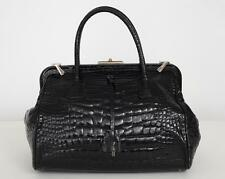 PRADA Black Glazed Alligator Top-Handle Satchel Doctor Frame Bag Handbag