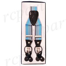 New in box Men's convertible suspender elastic braces blue gray black stripes