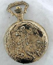 Gold tone Elegance quartz pocket watch Vintage Fox Hunt Scene