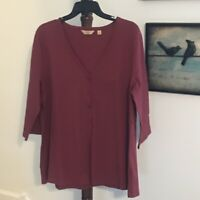 Niotto Essential Women's L Burgundy V Neck Button Front Long Sleeve Top NWOT