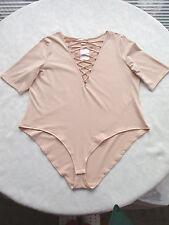 H&M Body XL 46 48 50 sexy Schnürung Trend Puder-Altrosé Baumwolle Stretch Shirt