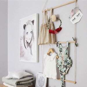 3-Layer Wooden Wall Hanging Shelf Clothes Hanger Kids Room Home Display Decor