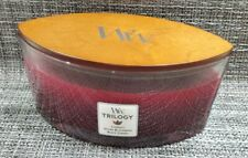 New WoodWick Trilogy 16 Oz Fall Candle Currant, Spiced Blackberry & Black Cherry